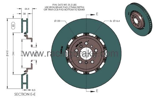 RB 2Pc Rotor (410x38mm) for BMW M5/M6 (2011-17) Front CCB to Iron Conversion