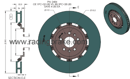 RB 2pc Rotors for Audi RS7 (Non CCB) Front