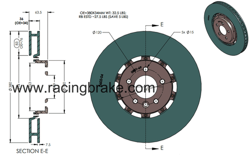 RB 2pc Rotors (380x36mm) for Range Rover Sport (SC) 2010+ & Non Sport 2013+ Front