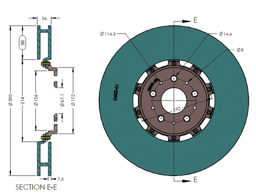 RB Rotor Kit (390x36) for Ferrari California Front (CCB  to Iron Conversion)