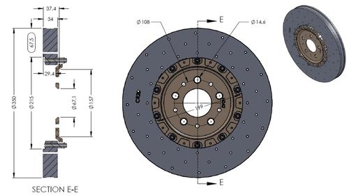RB-CCB (350x34) for Ferrari F430 Rear