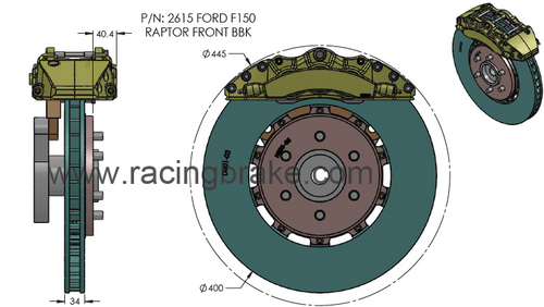 RB BBK (400/390) for Ford F150 & Raptor (2009+) w/Rear Drum Emergency Brake, Not Compatible with EPB (PN 2615-K & 2616-K) - Center Mt Design w/Open Slots Rotors