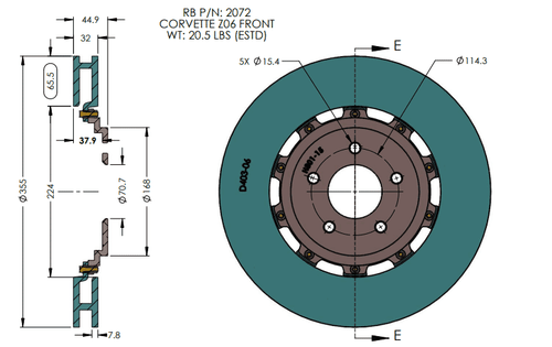 RB 2Pc Rotor Kit (355x32/340x26) for C6 Corvette Z06 w/PBR 6/4 Pot Caliper  (P/N 2072 & 2073)