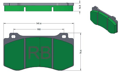 [PD1149-396] RB (XT960) Brake Pad: RB460 Caliper/MB/Jeep/Challenger
