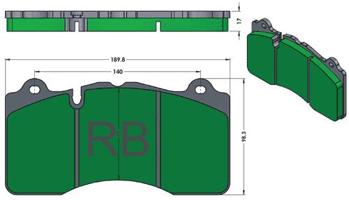 [PD1395-391] RB (XT910) Street Brake Pads: Camaro ZL1 (G6), Corvette ZR1, Ferrari F458, Land Rover, McLaren, Jeep Trackhawk, Mustang GT350, Viper ACRE etc. FRONT