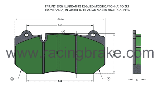 [PD1395B-391] RB (XT910) Street Brake Pads (72mm Depth): Aston Martin Non CCB Front