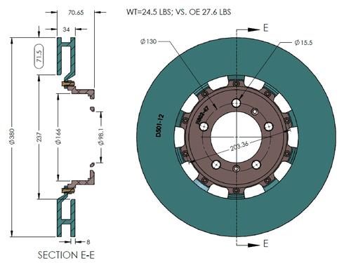 RB Rotor Kit (380x34/350x28) for 997.2 Turbo Pccb to Iron Conversion (P/N 2427 & 2180)