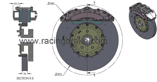 RB-CCB System Kit (394x36/390x32) for Nissan GT-R 2009+ (P/N 2C05-K & 2C76-K) Rotors Size=Corvette C7 ZR1 / Camaro Z28