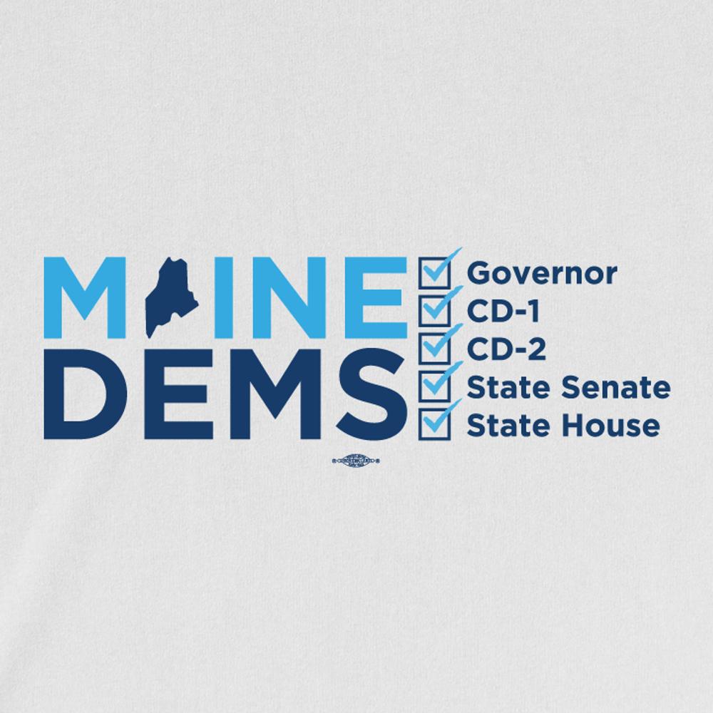 Maine Dems Checkbox Horizontal (White Tee)