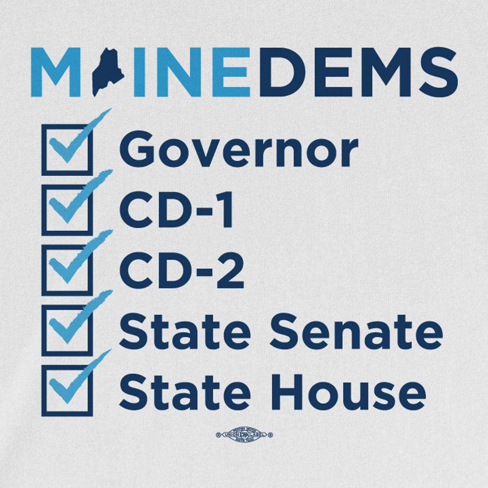 Maine Dems Checkbox (White Tee)