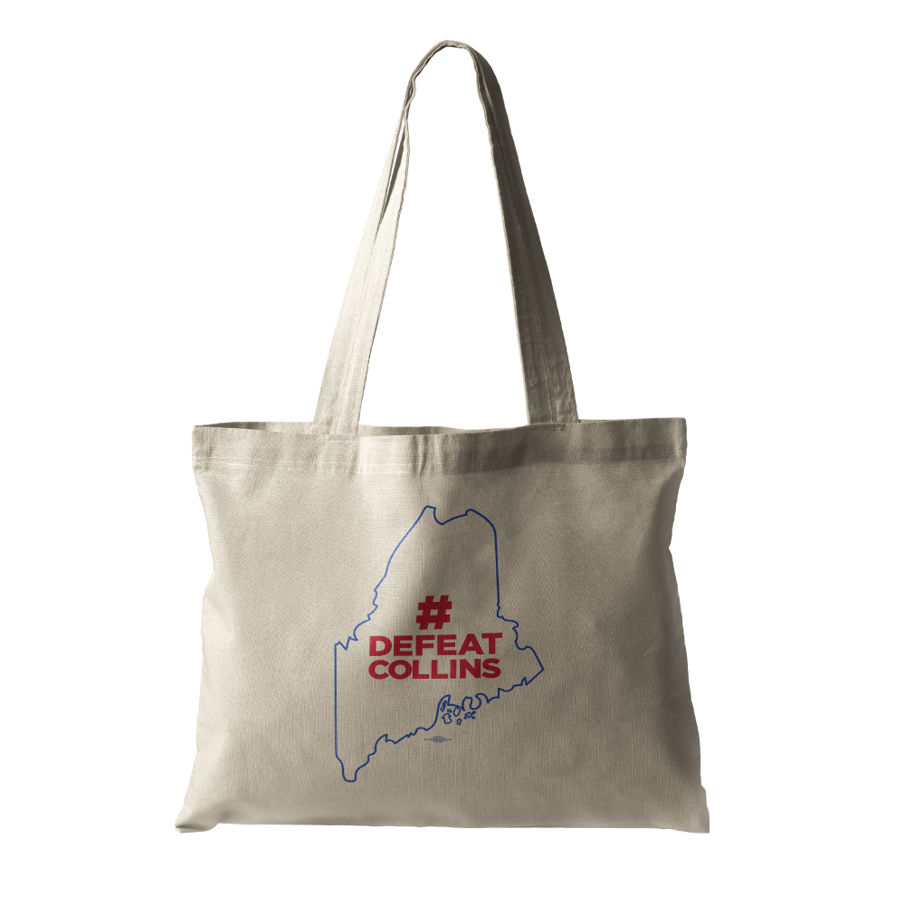#DefeatCollins State Outline (Natural Canvas Tote)