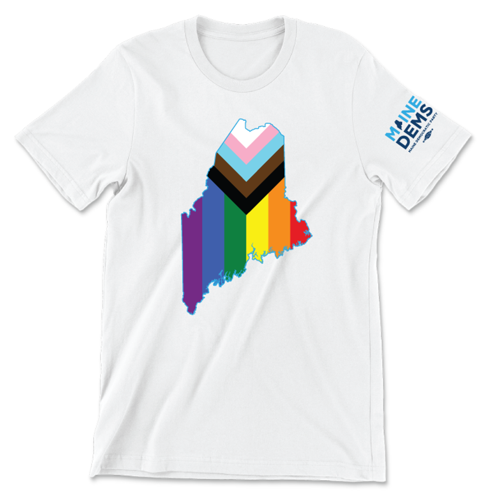 Maine State - Progressive Pride (Classic & Fitted White Tee)