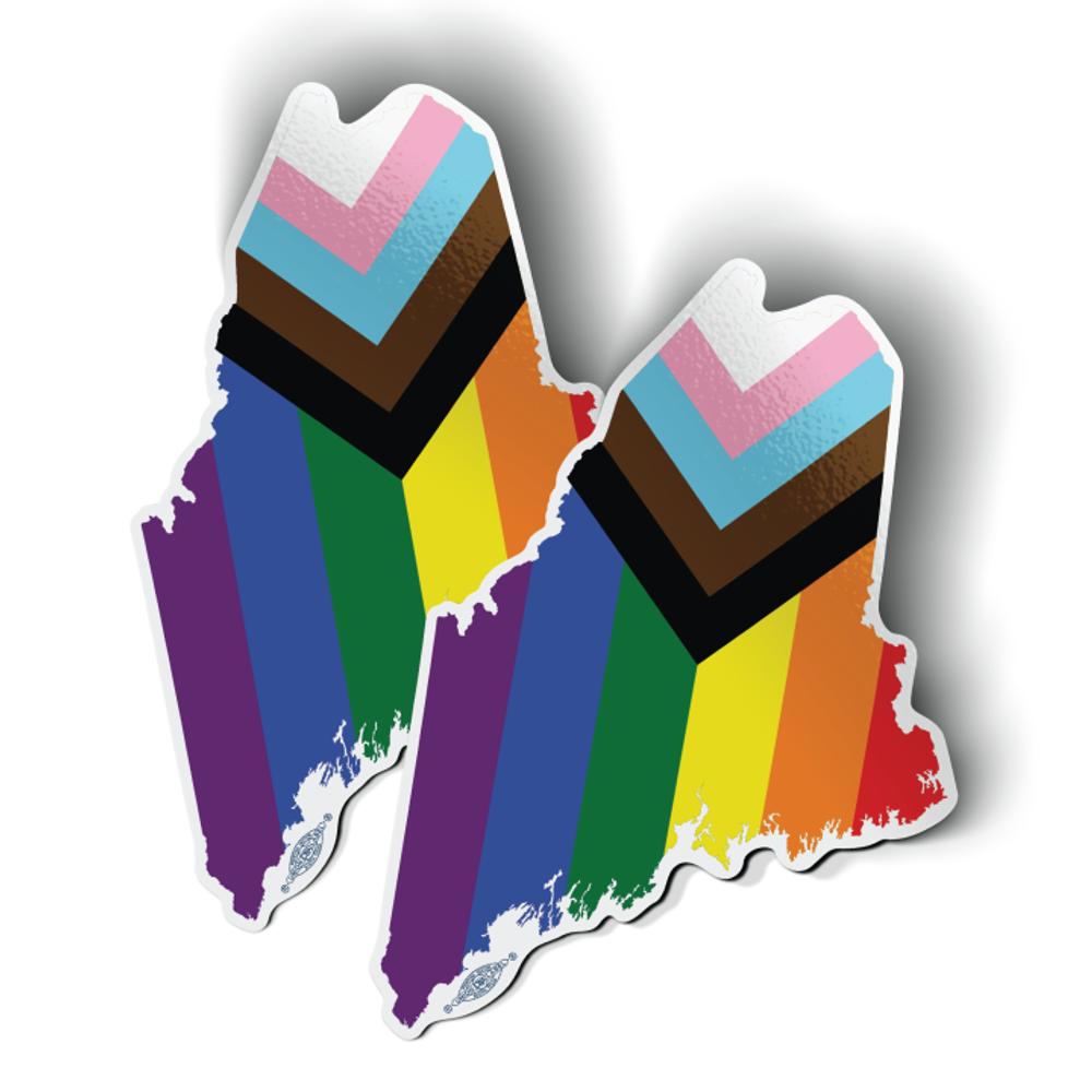 "Maine State - Progressive Pride (3"" x 4.5"" Vinyl Sticker -- Pack of Two!)"