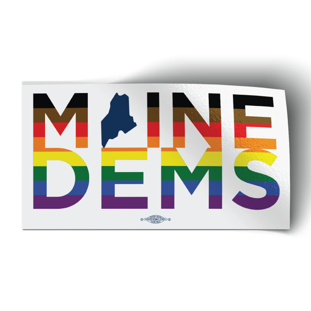 """Maine Dems - Extended Pride (6"""" x 3.25"""" Vinyl Sticker -- Pack of Two!)"""