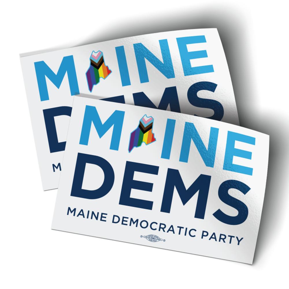 "Maine Dems - Progressive Pride (6"" x 4"" Vinyl Sticker -- Pack of Two!)"
