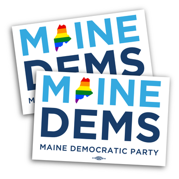 "Maine Dems - Pride (6"" x 4"" Vinyl Sticker -- Pack of Two!)"