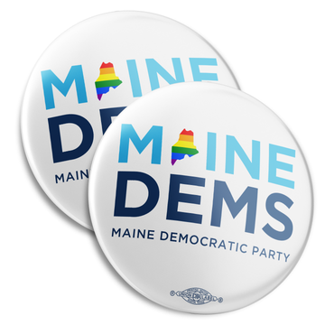 """Maine Dems - Pride (2.25"""" Mylar Button -- Pack Of Two!)"""