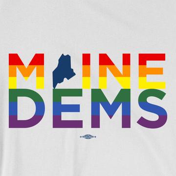 Maine Dems - Rainbow (Unisex White Tank)