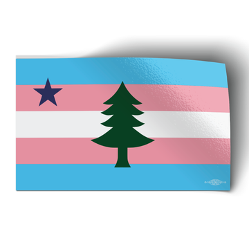 """1901 Maine Flag - Trans Pride (5"""" x 3"""" Vinyl Sticker -- Pack of Two!)"""