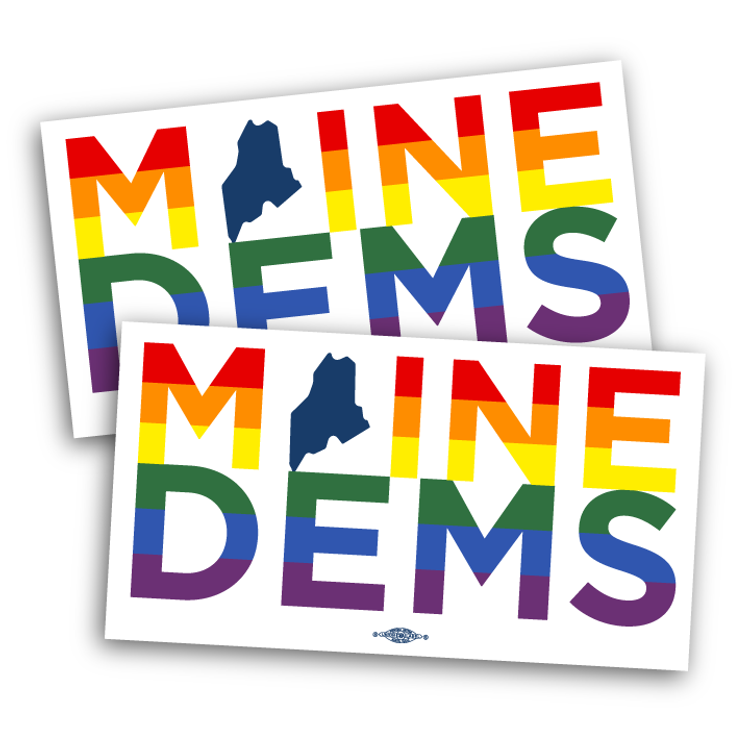 "Maine Dems - Rainbow (6"" x 3"" Vinyl Sticker -- Pack of Two!)"