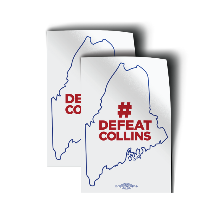 "#DefeatCollins State Outline (3"" x 4.5"" Vinyl Sticker -- Pack of Two!)"