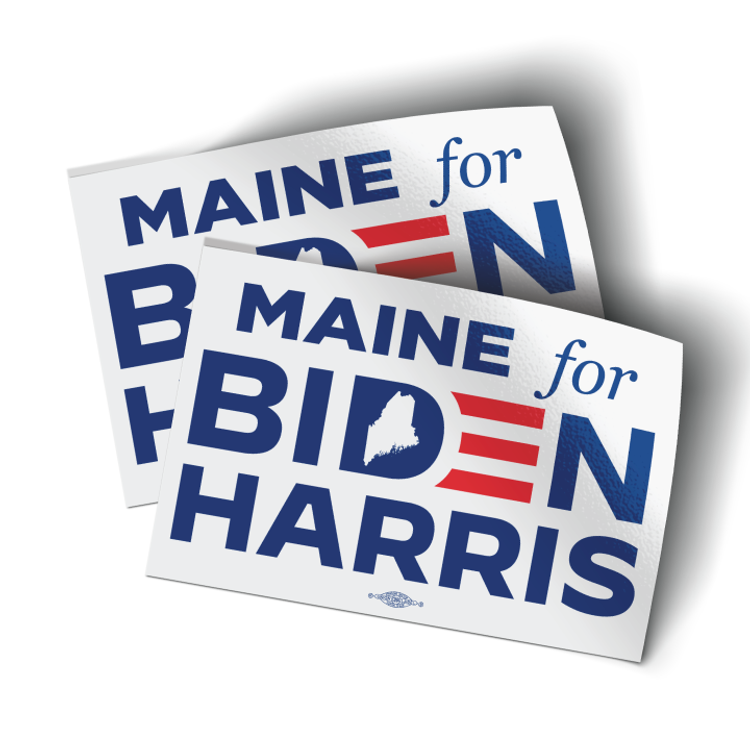 "Maine For Biden/Harris (4.5"" x 3"" Vinyl Sticker -- Pack of Two!)"