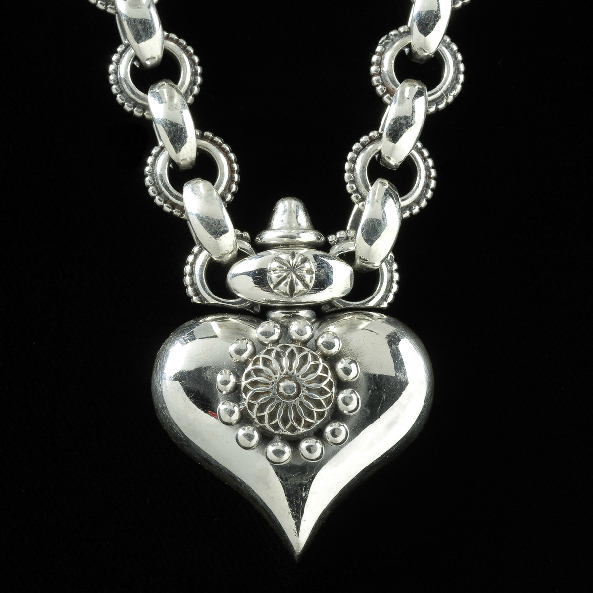6fbf4417af Sterling Silver handmade Heart Necklace with link chain by Bowman  Originals, Sarasota, 941-