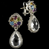 Multi Color Gemstone Cluster Earrings with White Topaz Drops, Sterling Silver, 18 k Gold by Bowman Originals, Sarasota, 941-302-9594.