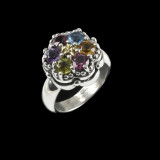 Cluster Ring in Sterling Silver, 18 k Gold and Multi Gemstones by Bowman Originals, Sarasota, 941-302-9594