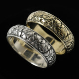 Fig Leaf Wedding Ring Bands in Silver and Gold handmade by Bowman Originals, Sarasota, 941-302-9594