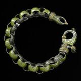 """Laurel Leaf """"Hook"""" Bracelet, Silver, Gold, Enamel, handmade by Bowman Originals, Sarasota, 941-302-9594."""