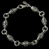 Hercules Bracelet, handmade links, Sterling Silver by Bowman Originals, Sarasota, 941-302-9594.