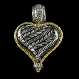 Heart Pendant, reversible, enamel, silver, gold, engraved by Bowman Originals, USA
