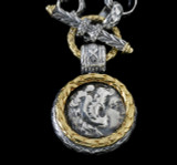 Details of Alexander the Great Necklace Pendant handmade in engraved Sterling Silver and 18 K Gold by Bowman Originals