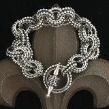 Sterling Silver handmade double link bracelet with secure and attractive toggle bracelet by Bowman Originals, Sarasota, 941-302-9594.