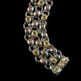 Laurel Leaf Bracelet details, handmade engraved Sterling Silver links with 18 k Gold accents, Citrine and Enamel by Bowman Originals, Sarasota, 941-302-9594