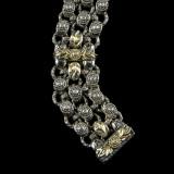 Laurel Leaf Bracelet, Sterling Silver, 18 k Gold, Diamond, handmade by Bowman Originals, Sarasota, 941-302-9594