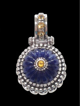 Sodalite Pendant with silver gold and citrine handmade by Bowman Originals, USA