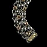 Laurel Leaf Bracelet handmade in Sterling Silver, 18 k  Gold, Rhodolite Garnet, Enamel by Bowman Originals, Sarasota, 941-302-9594.