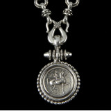 Lady Godiva Necklace beaded pendant handmade in Sterling Silver by Bowman Originals, 941-302-9594.