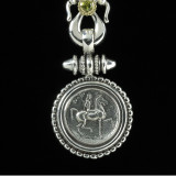 Lady Godiva Necklace Pendant handmade in beaded Sterling Silver and 18 k Gold featuring a Peridot gemstone by Bowman Originals, Sarasota, 941-302-9594.
