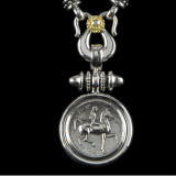 Lady Godiva Pendant Necklace handmade in Sterling Silver, 18 k Gold and Diamond by Bowman Originals, Sarasota, 941-302-9594.