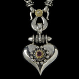 Heart Necklace Pendant in Silver, Gold, Diamond, Garnet by Bowman Originals,  941-302-9594.