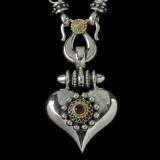 Heart Necklace Pendant in Silver, Gold, Diamond, Garnet by Bowman Originals,  941-302-9594.
