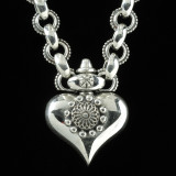 Sterling Silver handmade Heart Necklace with link chain by Bowman Originals, Sarasota, 941-302-9594.