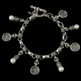 Charm Bracelet, Sterling Silver, Pearls by Bowman Originals, Sarasota, 941-302-9594