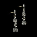 Drop Earrings in Sterling Silver Lions with 14 k Gold posts by Bowman Originals, USA