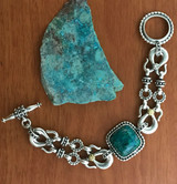 Silver, gold, Chrysocolla in Quartz Bracelet | Bowman Originals