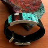Silver Inlaid Chrysocolla, Ebony, Tagua bracelet | Bowman Originals