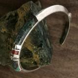 Sterling Silver Cuff Bracelet, Chrysocolla, Turquoiuse handmade by Bowman Originals, Sarasota, 941-302-9594